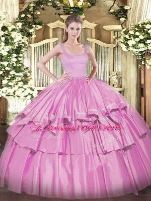 Elegant Lilac Sleeveless Floor Length Beading and Ruffled Layers Zipper Ball Gown Prom Dress
