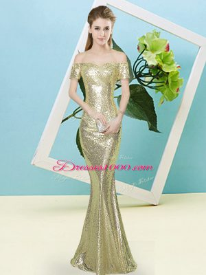Yellow Mermaid Sequined Off The Shoulder Short Sleeves Sequins High Low Zipper Prom Dresses