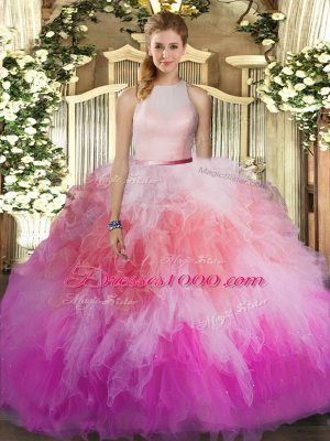 Best Multi-color Sleeveless Tulle Backless Quince Ball Gowns for Sweet 16 and Quinceanera
