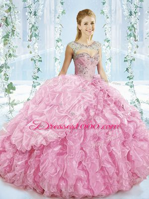 Baby Pink Sleeveless Organza Brush Train Lace Up Quinceanera Gown for Sweet 16 and Quinceanera