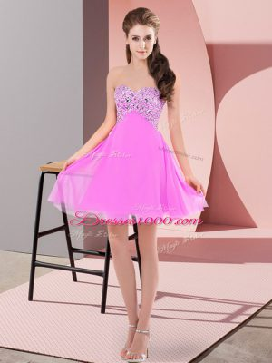 Sweetheart Sleeveless Chiffon Prom Dresses Beading Lace Up