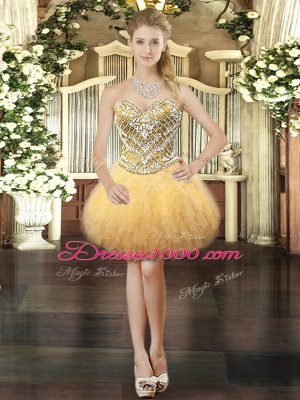 Sophisticated Gold Ball Gowns Sweetheart Sleeveless Tulle Mini Length Lace Up Beading and Ruffles Party Dress for Toddlers