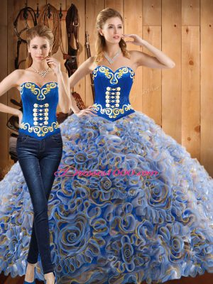 Custom Fit Multi-color Two Pieces Embroidery 15 Quinceanera Dress Lace Up Fabric With Rolling Flowers Long Sleeves With Train