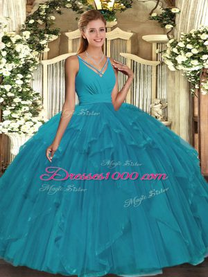 Affordable Teal V-neck Backless Ruffles Quince Ball Gowns Sleeveless