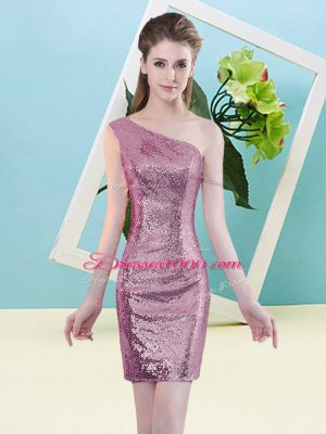 Hot Sale Fuchsia One Shoulder Neckline Sequins Prom Gown Sleeveless Zipper