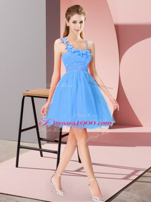 Modest Mini Length Zipper Prom Dress Baby Blue for Prom and Party with Beading and Hand Made Flower