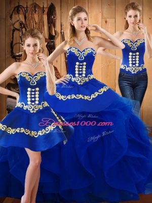 Discount Blue Lace Up Vestidos de Quinceanera Embroidery and Ruffles Sleeveless Floor Length