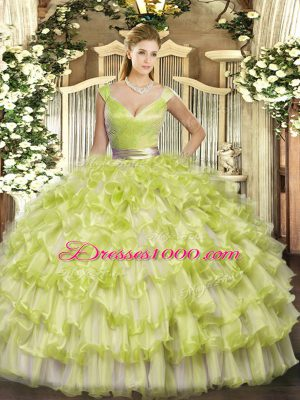 Yellow Green Sleeveless Organza Zipper 15th Birthday Dress for Military Ball and Sweet 16 and Quinceanera