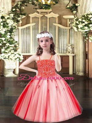 Inexpensive Sleeveless Floor Length Beading Lace Up Little Girl Pageant Gowns with Coral Red