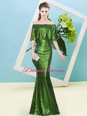 Floor Length Mermaid Half Sleeves Green Prom Dresses Zipper