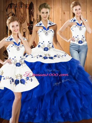 Blue And White Sleeveless Embroidery and Ruffles Floor Length Sweet 16 Dresses