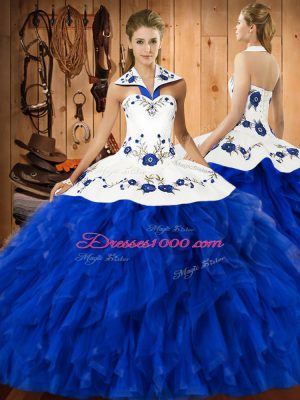 Glamorous Blue And White Lace Up Sweet 16 Dresses Embroidery and Ruffles Sleeveless Floor Length