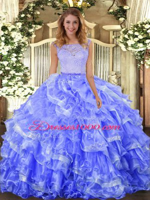 Blue Ball Gowns Organza Scoop Sleeveless Lace and Ruffled Layers Floor Length Clasp Handle Sweet 16 Dresses