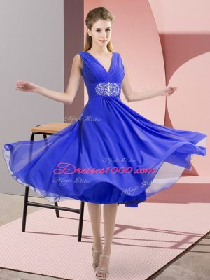 Blue Side Zipper Quinceanera Court of Honor Dress Beading Sleeveless Knee Length