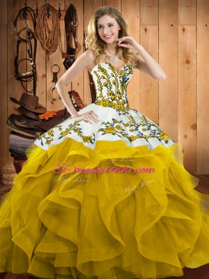 Suitable Yellow Sweetheart Neckline Embroidery and Ruffles Quinceanera Dress Sleeveless Lace Up