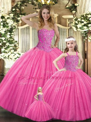 Customized Hot Pink Ball Gowns Tulle Sweetheart Sleeveless Beading Floor Length Lace Up Quinceanera Gowns