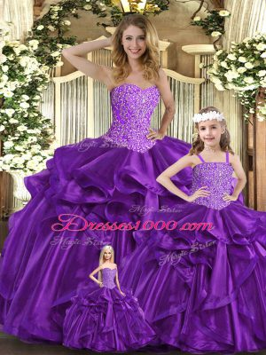 Purple Sweetheart Neckline Beading and Ruffles Quinceanera Dress Sleeveless Lace Up