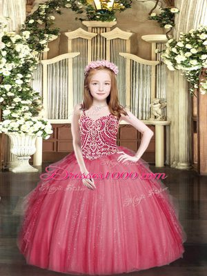 Sleeveless Tulle Floor Length Lace Up Pageant Dress for Teens in Coral Red with Beading and Ruffles