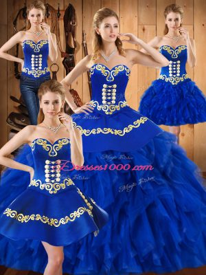 Ideal Sleeveless Satin and Organza Floor Length Lace Up 15 Quinceanera Dress in Blue with Embroidery and Ruffles