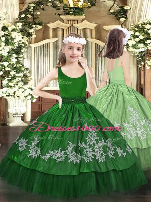 Simple Dark Green Zipper Scoop Beading and Appliques Little Girls Pageant Dress Taffeta Sleeveless