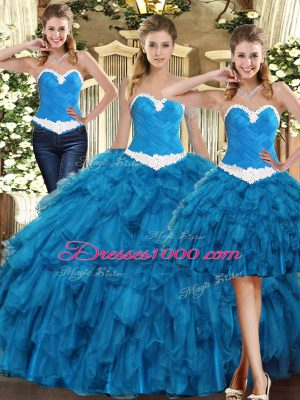 Floor Length Teal Quince Ball Gowns Tulle Sleeveless Ruffles