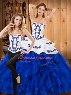 Floor Length Blue And White Quinceanera Gowns Satin and Organza Sleeveless Embroidery and Ruffles