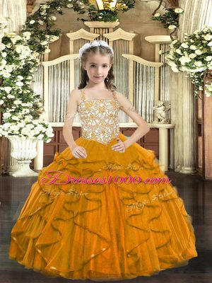 Affordable Floor Length Orange Child Pageant Dress Tulle Sleeveless Beading and Ruffles