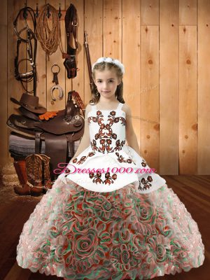 Fabric With Rolling Flowers Sleeveless Floor Length Pageant Dress for Teens and Embroidery