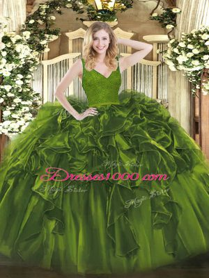 Artistic Olive Green V-neck Neckline Beading and Ruffles Quinceanera Gown Sleeveless Zipper