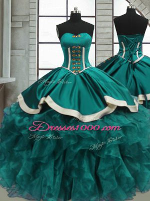 Teal Sleeveless Beading and Ruffles Floor Length Quinceanera Dresses