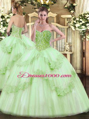 Elegant Ball Gowns Sweet 16 Dresses Apple Green Sweetheart Tulle Sleeveless Floor Length Lace Up