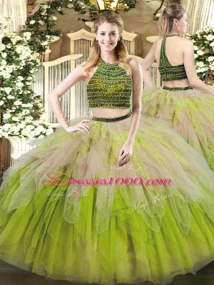 Lovely Multi-color Quinceanera Dresses Military Ball and Sweet 16 and Quinceanera with Beading and Ruffles Halter Top Sleeveless Lace Up