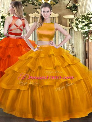 Custom Design Rust Red Sweet 16 Dresses Military Ball and Sweet 16 and Quinceanera with Ruffled Layers High-neck Sleeveless Criss Cross