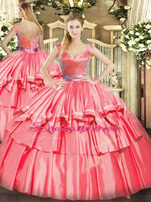 Amazing Hot Pink Tulle Zipper V-neck Sleeveless Floor Length Quinceanera Dress Beading and Ruffled Layers