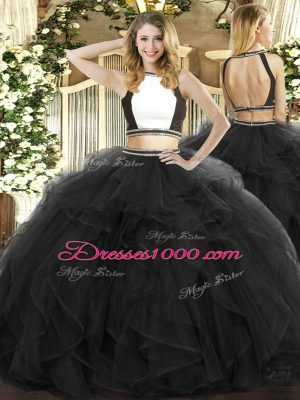 Black Tulle Backless Halter Top Sleeveless Floor Length Sweet 16 Dress Ruffles