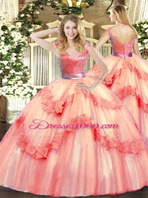 Popular V-neck Sleeveless Zipper Ball Gown Prom Dress Watermelon Red Tulle