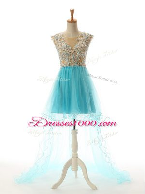 Superior Sleeveless Tulle High Low Backless in Aqua Blue with Appliques