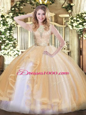 Elegant Lace and Ruffles Quinceanera Dress Champagne Backless Sleeveless Floor Length