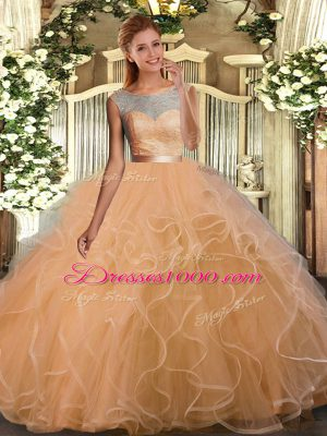 Free and Easy Champagne Ball Gowns Organza and Tulle Scoop Sleeveless Lace and Ruffles and Sashes ribbons Floor Length Backless 15th Birthday Dress