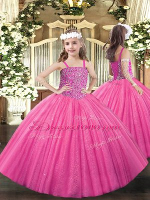 Straps Sleeveless Lace Up Pageant Dress Hot Pink Tulle
