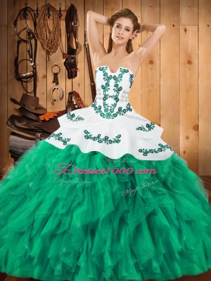 Turquoise Ball Gowns Strapless Sleeveless Satin and Organza Floor Length Lace Up Embroidery and Ruffles Ball Gown Prom Dress