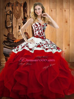 Wine Red Lace Up Sweetheart Embroidery and Ruffles Sweet 16 Quinceanera Dress Satin and Organza Sleeveless