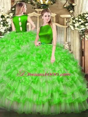 Ball Gowns Ruffled Layers Quinceanera Dresses Clasp Handle Organza Sleeveless Floor Length