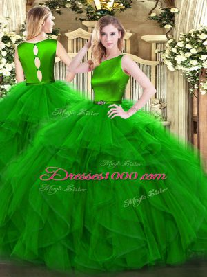 New Style Green Clasp Handle Scoop Ruffles 15 Quinceanera Dress Organza Sleeveless