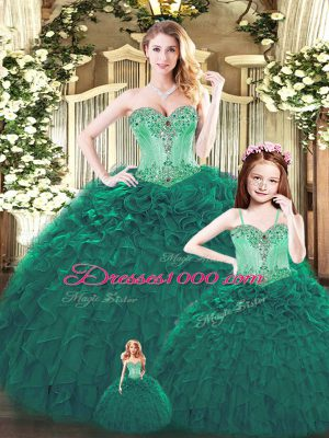 Custom Fit Dark Green Sweet 16 Dresses Military Ball and Sweet 16 and Quinceanera with Beading and Ruffles Sweetheart Sleeveless Lace Up