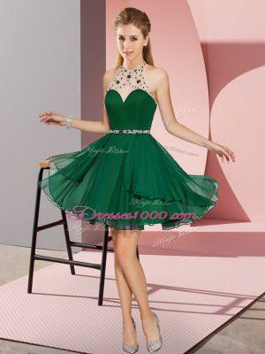 Super Dark Green Chiffon Zipper Halter Top Sleeveless Mini Length Prom Party Dress Beading