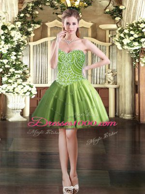 Attractive Mini Length Ball Gowns Sleeveless Olive Green Prom Evening Gown Lace Up