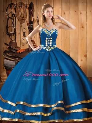 Exceptional Blue Sleeveless Embroidery Floor Length Ball Gown Prom Dress