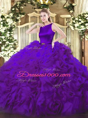Free and Easy Floor Length Ball Gowns Sleeveless Purple Sweet 16 Dresses Clasp Handle