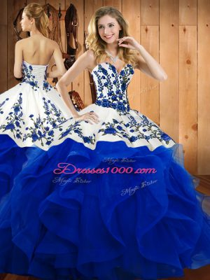 Blue Ball Gown Prom Dress Military Ball and Sweet 16 and Quinceanera with Embroidery and Ruffles Sweetheart Sleeveless Lace Up